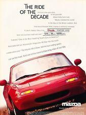 1996 Mazda Miata Mx-5 Ride of Decade -  Advertisement Print Art Car Ad J557