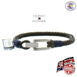 Tommy Hilfiger Bracelet Brown Leather Men's Stainless Steel Brand New in box