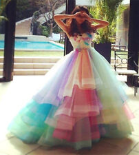 Tulle Tiered Rainbow Colorful Quinceanera Dress A-Line Sweet 16 Prom Party Gowns