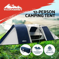 Weisshorn Family Camping Tent 12 Person Hiking Beach Tents Canvas Swag (3 Rooms)