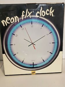Lite Neon F/X Clock wall, shelf, table mount, Adapter for Neon incl, TESTED NEW
