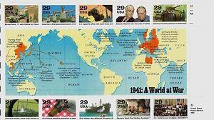 US HISTORY SCOTT #2559 WWII 1941: A WORLD AT WAR 10 MINT NH VF 29c STAMP SHEET