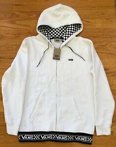 NWT Men's White Van's Hooded Hoodie Zippered Sweat Shirt size Medium ~ MSRP $60