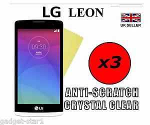 3x HQ CRYSTAL CLEAR SCREEN PROTECTOR COVER LCD GUARD FILM FOR LG LEON