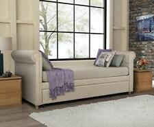 Daybed with Trundle Tan Beige Linen Upholstered Tufted Day Bed Sofa Seat Couch