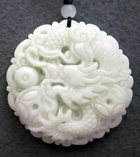 Asian Decor 250 Cts Jade Fortune Dragon Pearl Coins Amulet