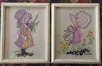 Vintage Holly Hobbie Framed Finished Crewel Embroidery Set of 2