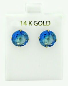 BLUE TOURMALINE 10.16 Cts STUD EARRINGS 14K YELLOW GOLD * New With Tag *