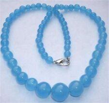 "6-14mm Brazilian Aquamarine Gems Round Beads Necklace 18"""