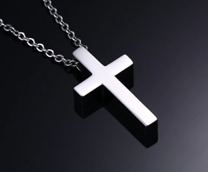 Silver Petite Cross. Stainless Steel Pendant Necklace. Christian. Gothic.