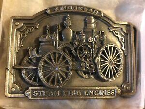"BELT BUCKLE Steam Fire Engines 1985 Amoskeag Bergamot Brass Works 3""x 2-1/4"" NEW"