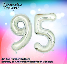 """Giant 95th Birthday Party 40"""" Foil Balloon Helium Air Decoration Age 95 SILVER"""