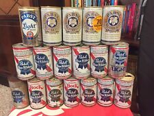 18 DIFFERENT PABST BLUE RIBBON BEER CAN STEEL & ALLUMINUM FLAT TOP PULL TAB