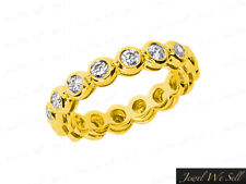 Ring 14k Gold Gh I1 Bezel Set 0.85Ct Round Diamond Gallery Wedding Eternity Band