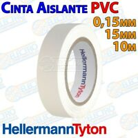 Cinta Aislante ignifuga PVC Blanca 10m x 15mm x 0,15mm HellermannTyton