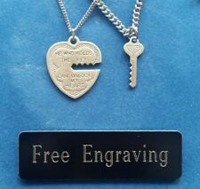 FREE ENGRAVING (PERSONALIZED) Sterling Silver Key & Heart Couple's Necklaces