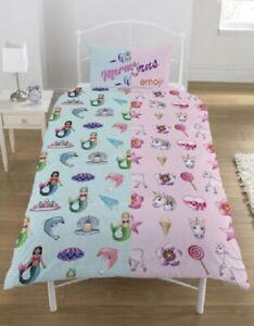 Unicorn Rainbow Emoji Mermaid Quilt Doona Cover Set Reversible Kids SINGLE