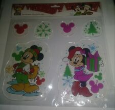 DISNEY Mickey Mouse & Minnie Mouse Holiday Christmas Gel Window Clings 6 Pc. Set