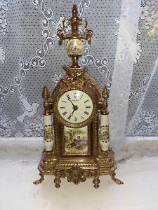 Brass Porcelain  Mantel Clock