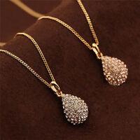 Mode vergoldet versilbert Kristall Anhänger langkettige Aussage Halskette WomXUI