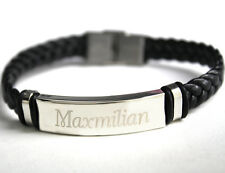 MAXIMILIAN - Mens Bracelet With Name - Leather Braided Dad Birthday Gift For Him