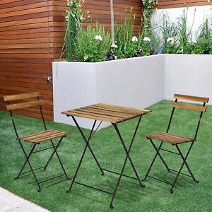 Outdoor Garden 3 Piece Wood Metal Bistro Set Table Folding Chair Patio Furniture