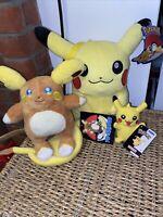 Pokemon Centre Alolan Raichu Plush & Small Pikachu Plush Official Merch Bundle