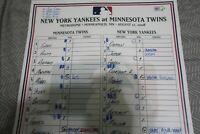 New York Yankees game used lineup card 8-12-08 vs Twins Derek Jeter Rodriguez