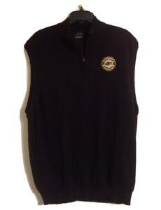 Men Greg Norman 1/4 Zip Golf Pullover Green Beret Fountain Patch Vest Sz XL