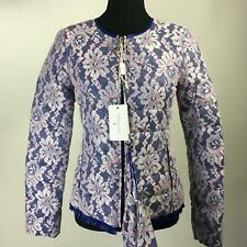 NWT PATRIZIA PEPE Blue Floral Lace Down Quilted Jacket Lightweight Women Sz S 40