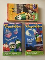 Lot of 3 - Veggie Tales VHS Tapes  Christian Values Lessons Sunday Home School
