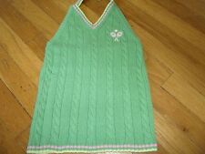 GYMBOREE SHIRT TOP SIZE 8 TENNIS TANK MIXED DOUBLES GREEN CABLE KNIT SUMMER FALL