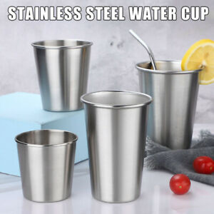4 Size Stainless Steel Cup Mug Drink Coffee Beer Party Tumbler Metal Home Office
