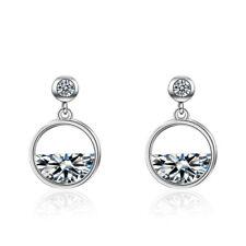 NEW Women's Elegant 925 Sterling Silver Natural Zircon Round Stud Drop Earrings