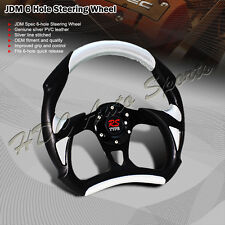 TYPE-A 320MM 6-Hole Black / Silver PVC Leather Racing Steering Wheel Universal 2