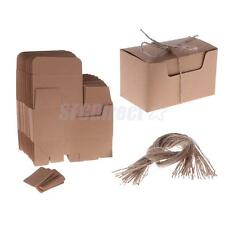 50pcs Kraft Paper Gift Boxes Candy Cake Cookies Party Wedding Brown Box Tags