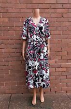 BNWT VERONIKA MAINE ~ 12 ~ White Black Magenta Belted Floral Wrap Dress RRP $319