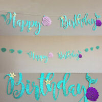2.5M Mermaid Glitter Banner Shell Letters Cardboard HAPPY BIRTHDAY Party Decor