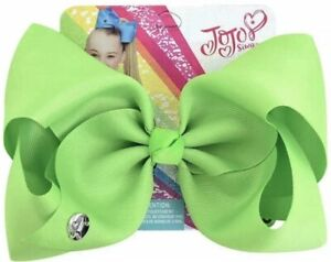 """Jojo 8"""" Pure Color Bow Lime Green"""