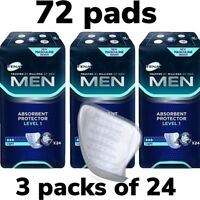 Tena Men Level 1 Absorbent Protector 3 Packs of 24 72 Guards Incontinence Pads