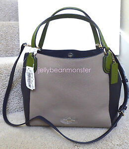 COACH 35961 EDIE COLORBLOCK LEATHER SHOULDER BAG 28 PURSE Stone New Tag