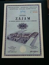 EXTRA RARRE-YUGOSLAVIA- CROATIA- 100 DINARA 1971 -Municipal loan !!!