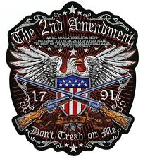 """2nd Amendment DON'T TREAD ON ME Eagle Military Flag Guns Embroidered Patch 12"""""""
