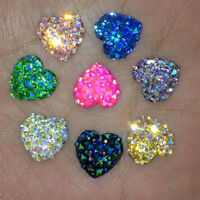50Pc Mixed AB Resin Heart Shape Flatback For Phone/Wedding/Craft Makings DIY New
