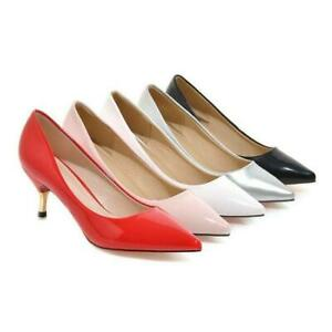 Ladies Pointed Toes Synthetic Leather Mid Heels Wedding Party Pumps Shoes