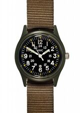 MWC Matt Black 1960/70s Vietnam Pattern Military Watch Olive Khaki NEW BOXED