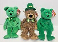Ty Beanie Babies St Patrick's Day Lot Of 3 Lucky O'Day, Erin, Lucky Dublin EUC