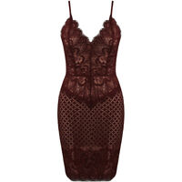New Strappy Plunge V Neck Floral Eyelash Lace Nude Lined Bodycon Cami Mini Dress