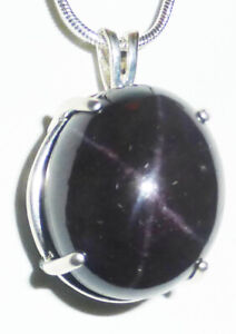 """45ct. HUGE Idaho STAR Garnet Over the Top set OVAL18"""" chain Silver"""