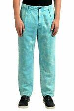 Just Cavalli Homme Lin Délavé Bleu Pantalon Décontracté US 32 It 48